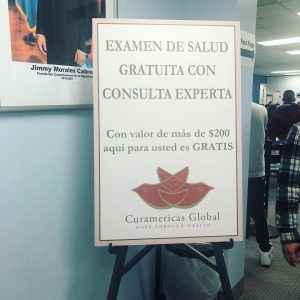 Ventanilla de Salud sign in the waiting room.